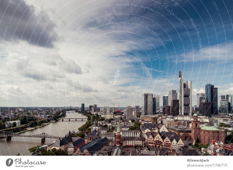 Sky City Summer Clouds High-rise Esthetic Tall Skyline Tourist Attraction Bank building Downtown Old town Frankfurt Famousness Main Hesse