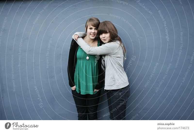 Youth (Young adults) Blue Feminine Friendship Contentment Together Funny Looking Happiness Authentic Uniqueness Infinity Longing Natural Touch