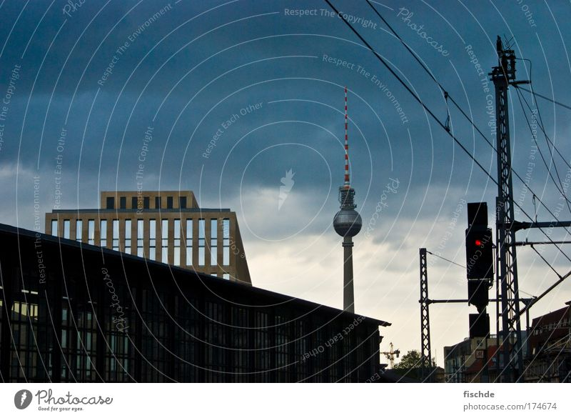 Blue City Vacation & Travel Berlin Loneliness Black Dark Architecture Uniqueness Telecommunications TV set Television Observe Landmark Radio (broadcasting)