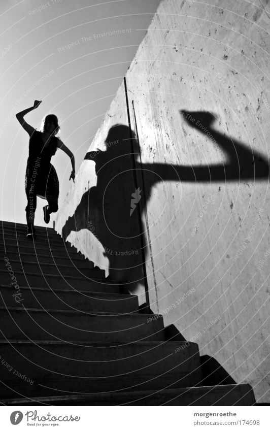 The hiker and his shadow IV Black & white photo Exterior shot Abstract Neutral Background Day Sunlight Human being Young woman Youth (Young adults) 1
