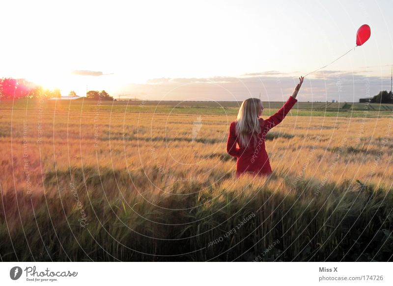 Woman Human being Youth (Young adults) Beautiful Red Love Landscape Emotions Happy Adults Sadness Field Blonde Wind Heart Balloon