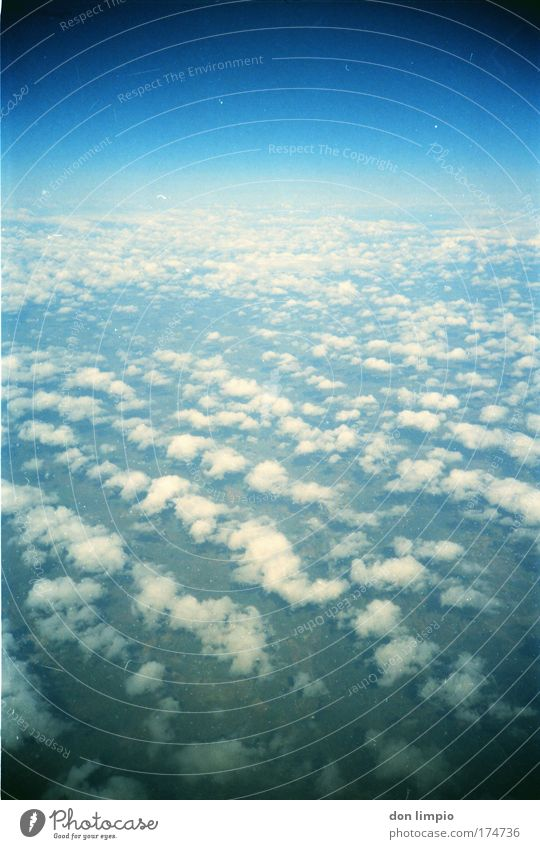 Sky Blue Clouds Far-off places Horizon Flying Aviation Beautiful weather Hunting Blind Astronautics Lomography Transport View from the airplane