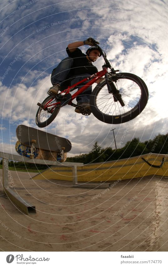 Mane - Transfer Colour photo Exterior shot Aerial photograph Copy Space bottom Day Contrast Fisheye Full-length Joy Leisure and hobbies Summer BMX bike