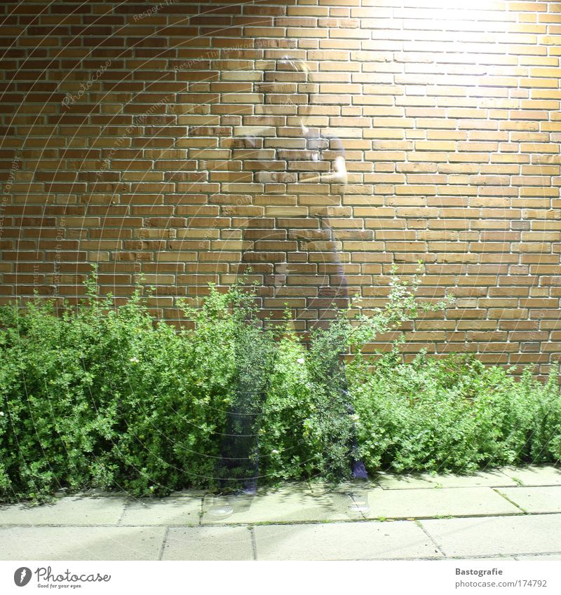 Women are transparent ! Colour photo 1 Human being Surrealism Woman Ghosts & Spectres  Witching hour Transparent Wall (building) Brick red Long exposure
