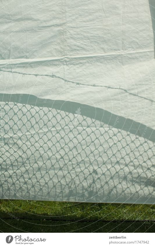 Shadows on the tarpaulin Covers (Construction) Sun Summer Fence Wire netting fence Barbed wire Barbed wire fence Border Neighbor Tent Cloth Party Party space