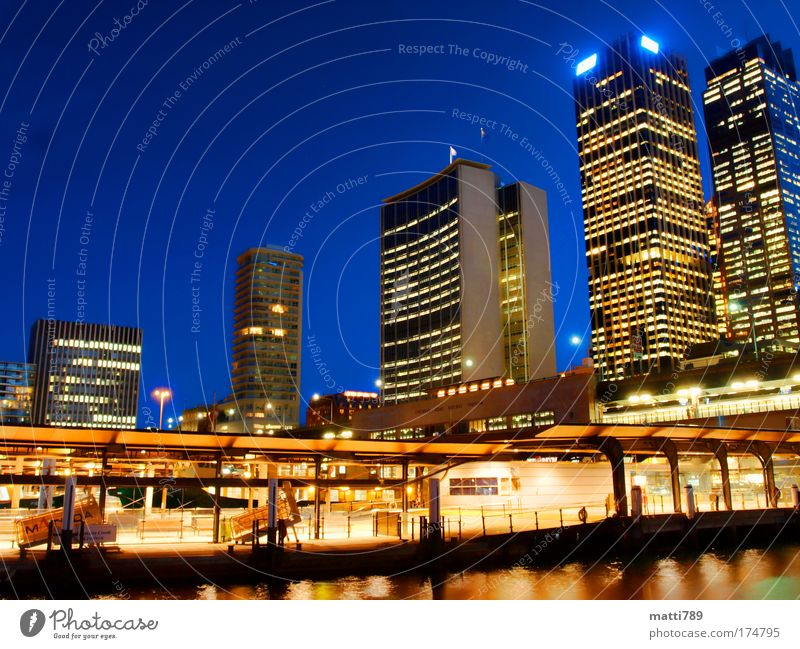 Circular Quay by Night Colour photo Exterior shot Twilight Long exposure Long shot Sydney New South Wales Australia Capital city Downtown Skyline Deserted