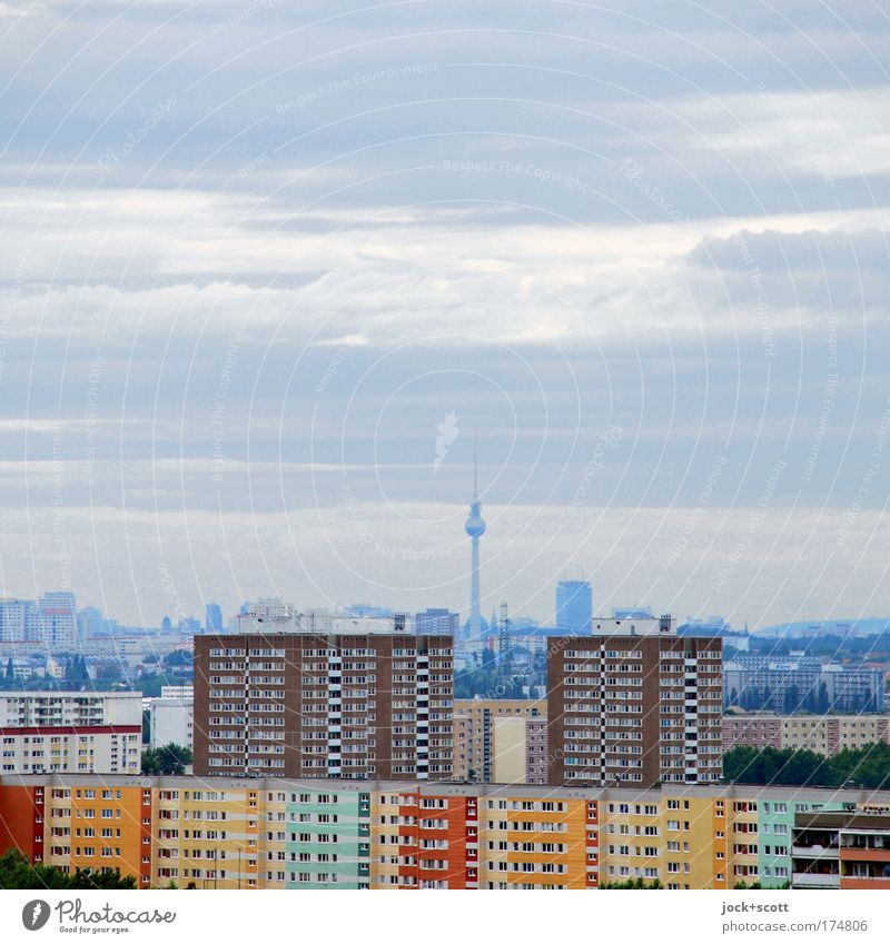 flat view of Berlin Clouds Climate change Capital city Skyline Prefab construction Tower block Facade Landmark Berlin TV Tower Authentic Far-off places Above