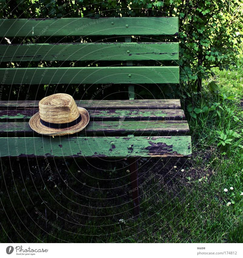 hat Retirement Closing time Hat Lie Old Authentic Natural Green Calm Past Transience Time Bench Wood Forget Park bench Wooden bench Garden bench Straw hat