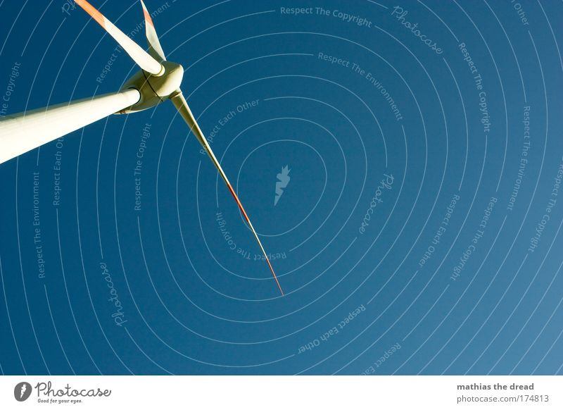 wind power Colour photo Exterior shot Deserted Neutral Background Day Shadow Silhouette Sunlight Worm's-eye view Technology Advancement Future Energy industry