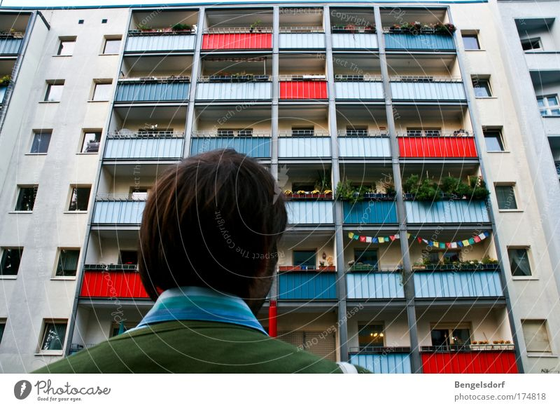Human being City House (Residential Structure) Window Flat (apartment) Facade Poverty Masculine High-rise Living or residing Many Balcony Story