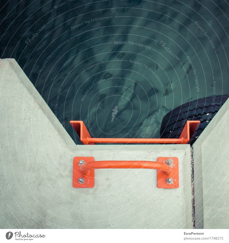harbour basins Water Architecture Decoration Concrete Metal Line Gray Red Black Ladder To hold on Hold Tire Harbour Jetty Graph Colour photo Subdued colour