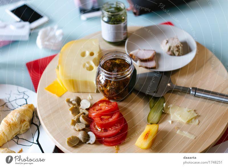 breakfast Meat Cheese Vegetable Bread Croissant pesto Tomato Mushroom Nutrition Eating Breakfast Plate Lifestyle Elegant Style Design Joy Harmonious Relaxation