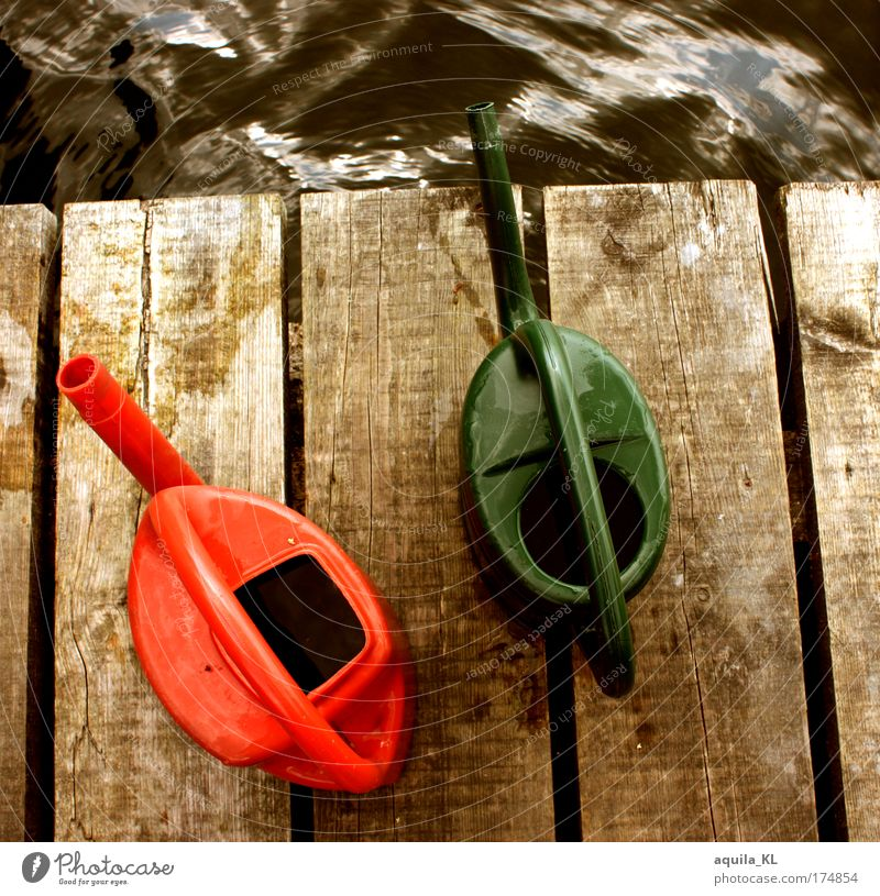 Green Red Work and employment Lake Waves Water Footbridge Wooden board Cast Watering can Swell