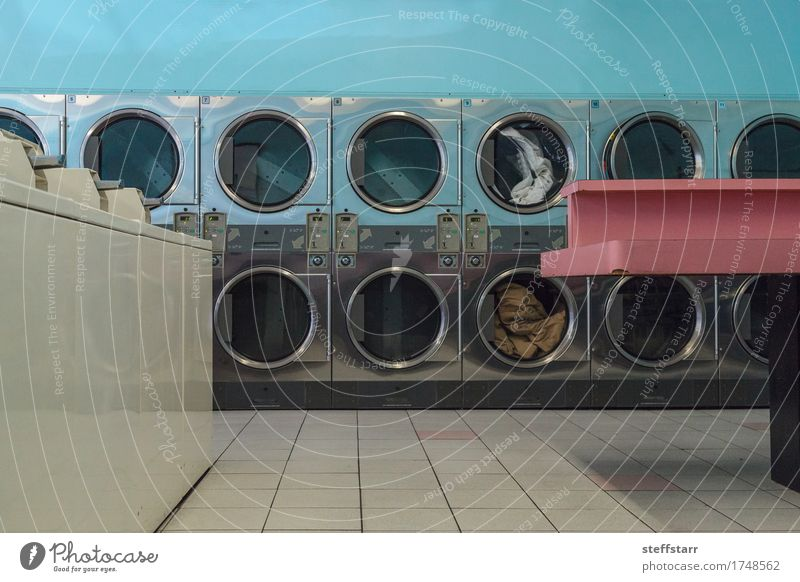 Washing clothes and drying at the Laundromat Machinery Technology Industry Clothing T-shirt Shirt Skirt Pants Jeans Dress Suit Coat Stockings Underwear Metal