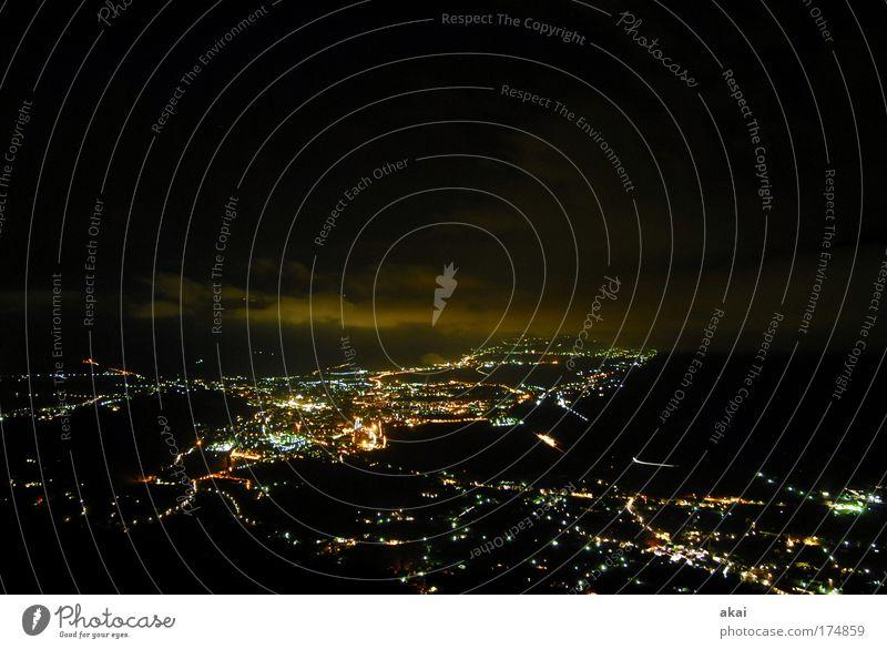 City Beautiful Black Horizon Perspective Skyline Night South Tyrol Night sky Night shot Sea of light City light Meran