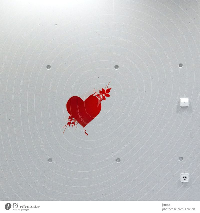 Cold heart Colour photo Interior shot Copy Space top Copy Space bottom Artificial light Flirt Wall (barrier) Wall (building) Passion Love Infatuation Romance