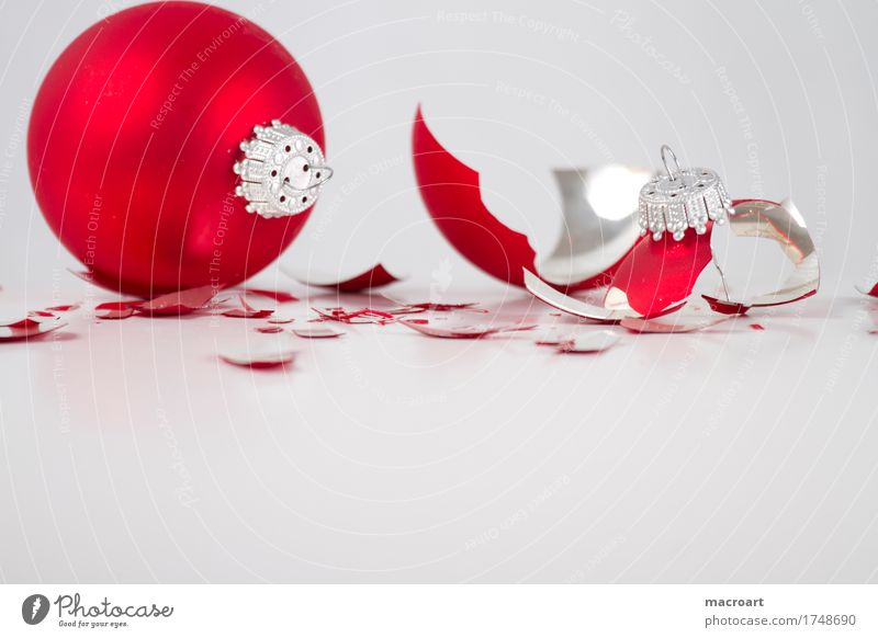 broken Christmas & Advent Glitter Ball Shard Glass Glass ball Slivered White Isolated Image Sphere Red Broken Christmas tree decorations