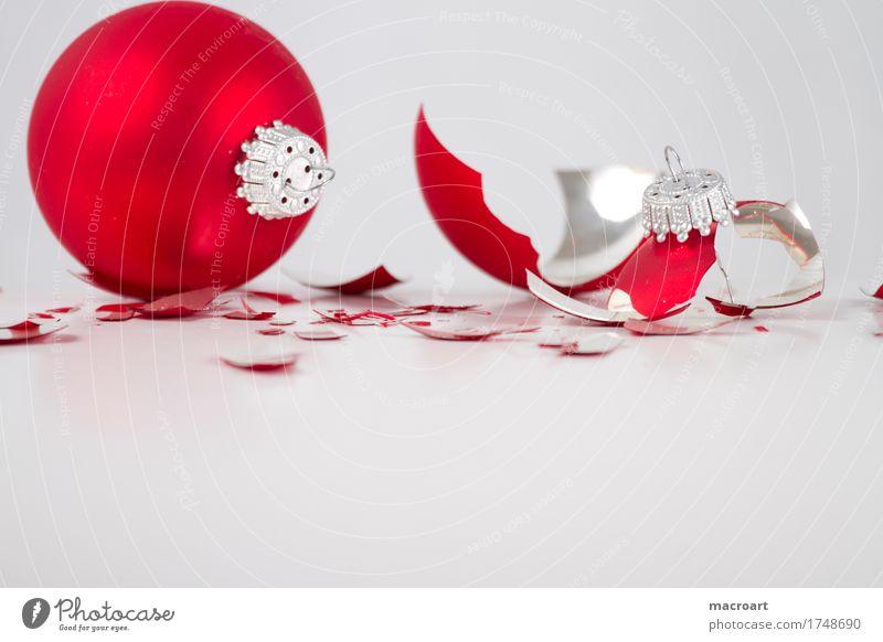 Christmas & Advent White Red Glass Sphere Broken Glitter Ball Shard Christmas tree decorations Glass ball Slivered