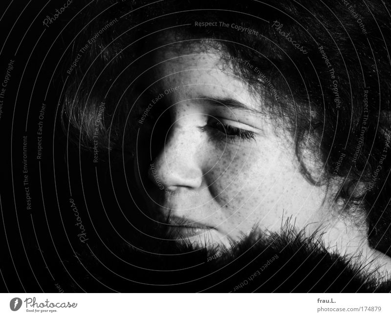 feathers Black & white photo Interior shot Copy Space left Day Contrast Sunlight Deep depth of field Central perspective portrait Half-profile Human being