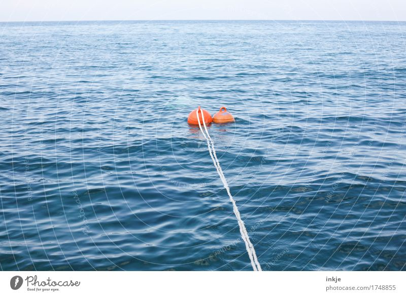 Blue Summer Water White Ocean Far-off places Environment Swimming & Bathing Orange Horizon Waves Beautiful weather Rope Break Safety Float in the water