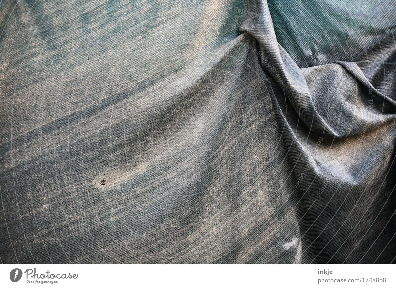 old tarpaulin Covers (Construction) Wrinkles Plastic Hang Old Dirty Broken Blue Gray Green Protection Packaged Weather protection Colour photo Exterior shot
