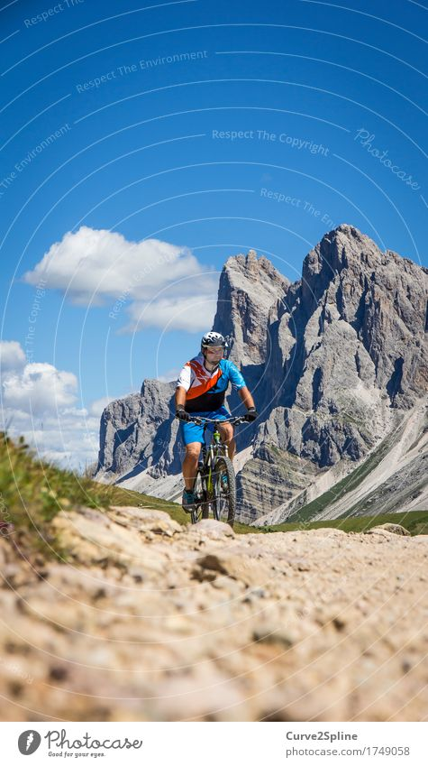 freeride Leisure and hobbies Sports Cycling Human being Masculine Man Adults 1 30 - 45 years Landscape Elements Sky Clouds Rock Alps Mountain Peak