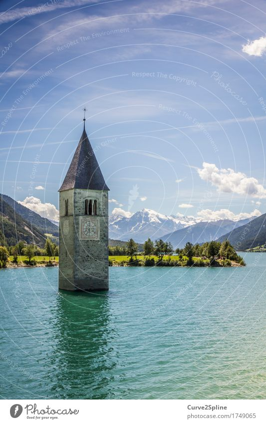 The flooded village Nature Landscape Elements Sky Clouds Summer Beautiful weather Forest Hill Alps Mountain Peak Snowcapped peak Waves Lakeside Church