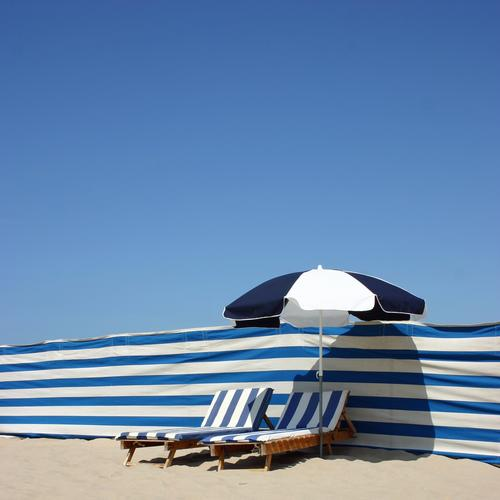 stripes Line Blue Stripe Sunshade Couch Sky Blue sky Beach Beach vacation Bathing place Sunbeam Cozy 2 Couple In pairs White Blue-white Rent De Haan Belgium