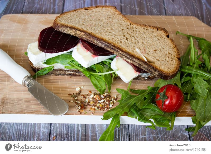 Owl II Knives Tomato Red beet Lettuce Rucola Brie Cheese Bread Chopping board Healthy Healthy Eating Dish Food photograph Breakfast Slow food Daub Nutrition