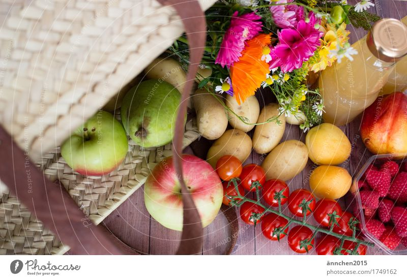 Colourful shopping Multicoloured Fruit Flower Day Apple Pear Shopping Bag Basket Apple juice Raspberry Tomato Red Green plastic-free Potatoes Summer Autumn