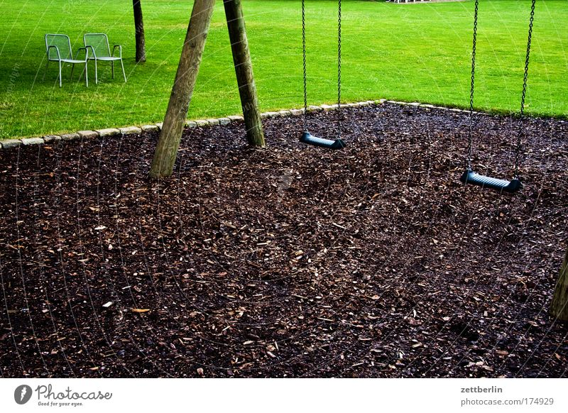 demography Swing Playground Empty Expressionless Deserted Extinct mulch bark mulch Chair Seating Bench Grass Lawn Grass surface Meadow Lawn for sunbathing