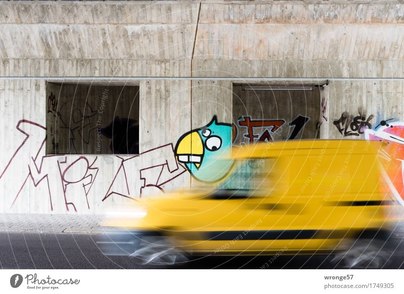 City Red Yellow Wall (building) Graffiti Wall (barrier) Gray Bird Car Characters Speed Concrete Bridge Driving Turquoise Vehicle