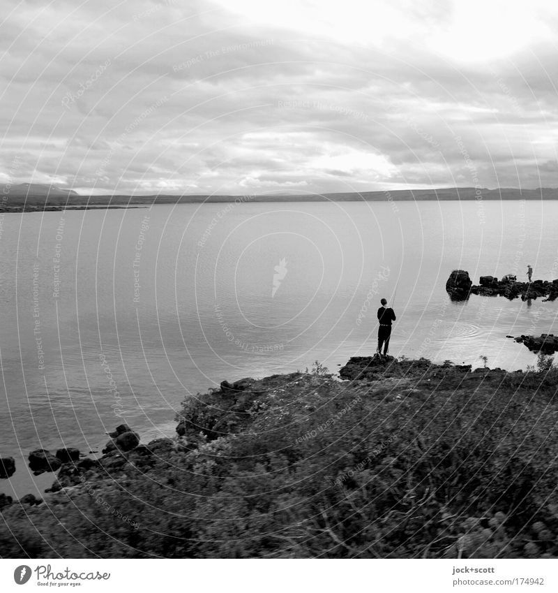 Loneliness Leisure and hobbies Fishing (Angle) Human being 1 Nature Landscape Animal Water Sky Clouds Bad weather Plant Lakeside Iceland Relaxation Stand Simple