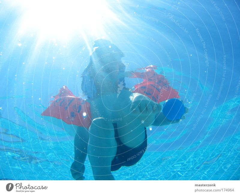 Human being Child Nature Hand Water Sun Ocean Summer Playing Movement Feet Legs Arm Ball Swimming pool