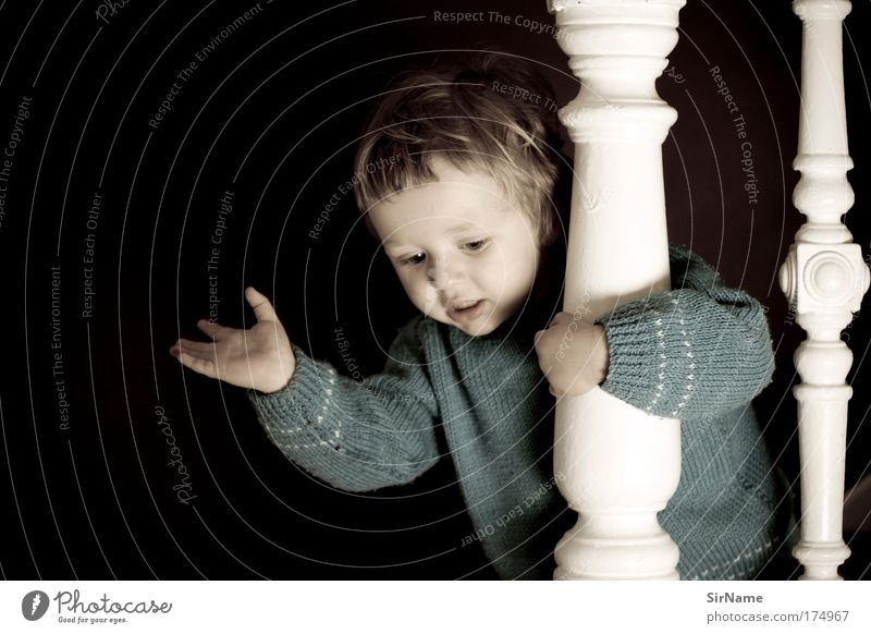 113 [I can see you!] Joy Playing Children's game Parenting Kindergarten Toddler Infancy Human being 1 - 3 years Stairs Sweater Blonde Wood Observe Discover