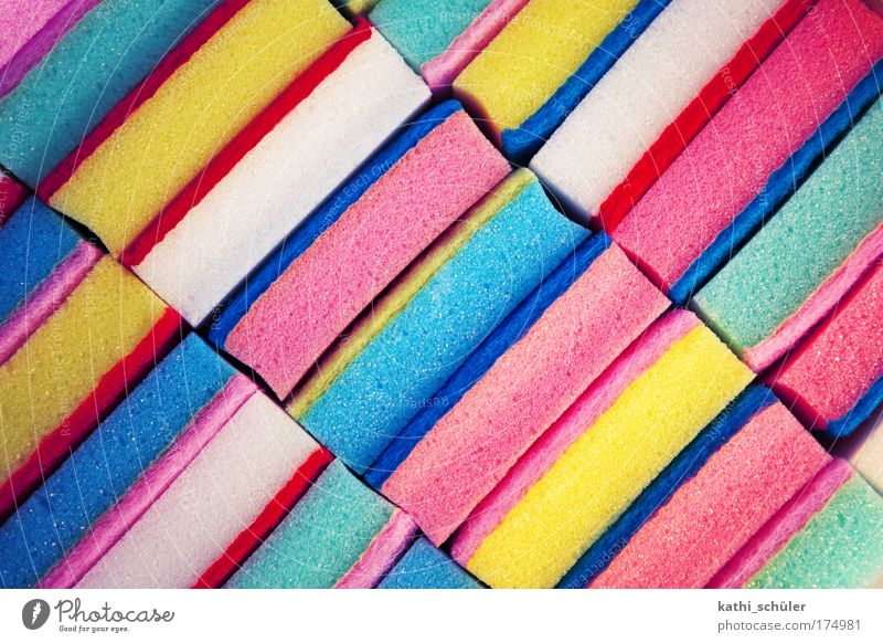 spring cleaning Colour photo Multicoloured Close-up Structures and shapes Bird's-eye view Cleaning agent Sponge cleaning sponge Plastic Pink Diligent