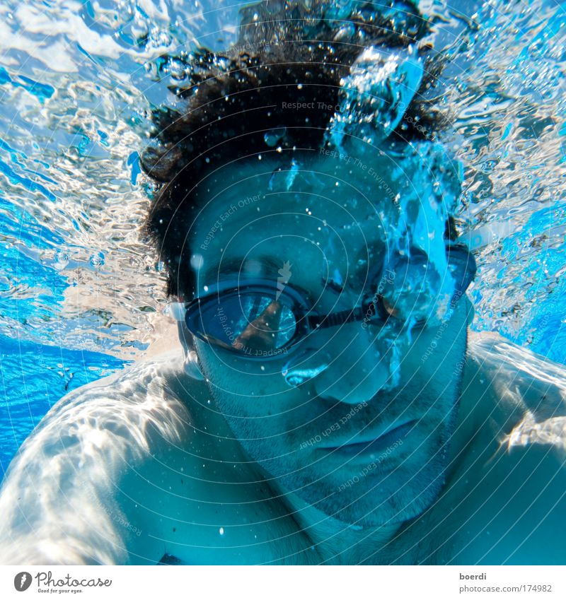 bLubbex Colour photo Underwater photo Light Reflection Deep depth of field Portrait photograph Looking into the camera Swimming & Bathing Leisure and hobbies