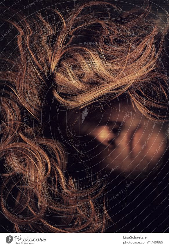 Like in a dream Feminine Hair and hairstyles Face Blonde Long-haired Breathe To fall Esthetic Eroticism Romance Longing Loneliness Personal hygiene Crisis Love