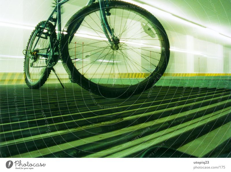 parking zone Bicycle Mobility Town Underground garage Neon light Parking Long exposure