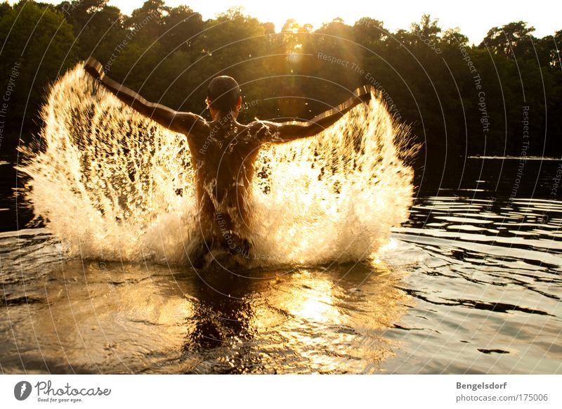 Human being Nature Youth (Young adults) Water Sun Summer Vacation & Travel Far-off places Sports Movement Man Freedom Lake Drops of water Back