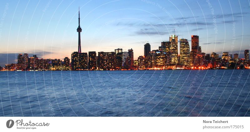Toronto Night Skyline Colour photo Subdued colour Exterior shot Deserted Twilight Light Panorama (View) Sunrise Sunset House (Residential Structure) Tower