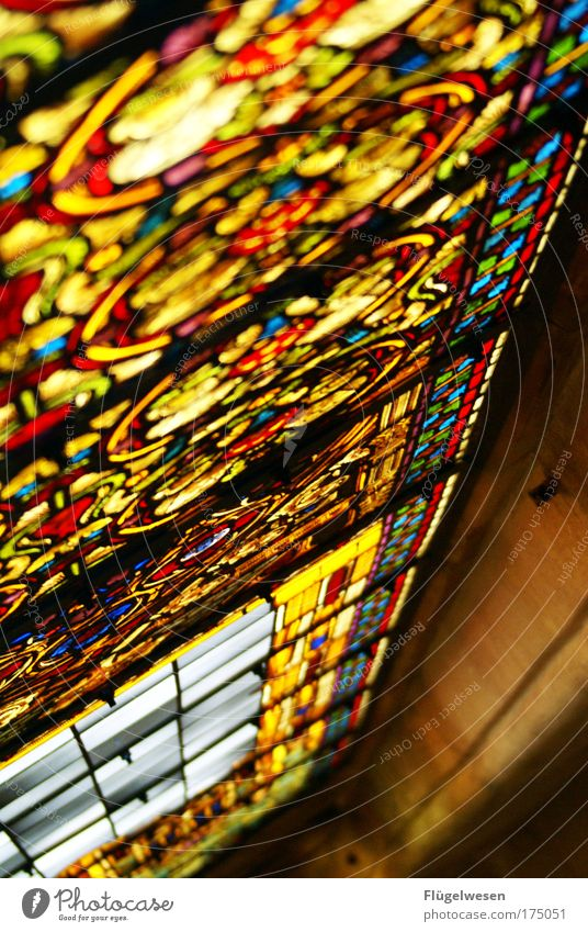 Glass Church Illuminate Section of image Partially visible Window Mosaic Play of colours Arts and crafts  X-rayed Church window Ornamental Bright Colours