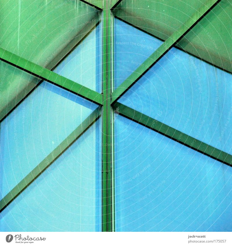 Window cross: Nautilus Seventies Facade Corner Metal Crucifix Stripe Sharp-edged Blue Green Center point Perspective Irritation Molding Surface Illusion