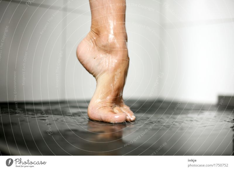 Human being Woman Beautiful Adults Life Natural Feet Esthetic Stand Wet Personal hygiene Barefoot Stretching Take a shower Pedicure Tip of the toe