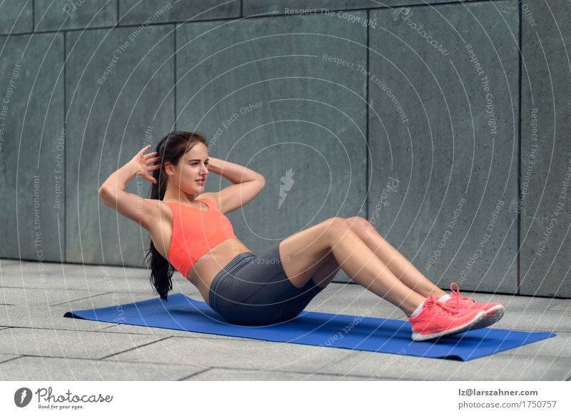Athletic young woman working out Human being Woman Youth (Young adults) Summer 18 - 30 years Adults Sports Lifestyle Feminine Body Action Fitness Brunette Yoga Conceptual design Practice