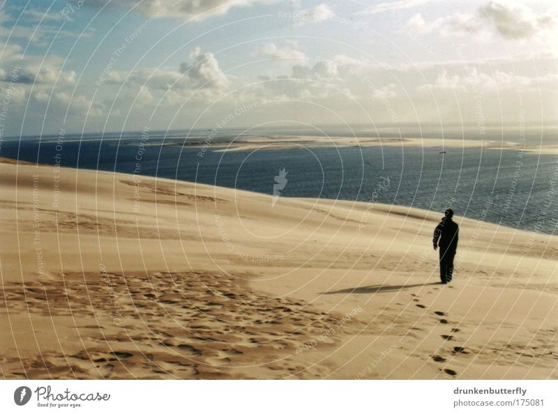 Dune de Pyla Colour photo Exterior shot Copy Space left Day Shadow Sunlight Vacation & Travel Trip Far-off places Freedom Summer Ocean Waves Human being