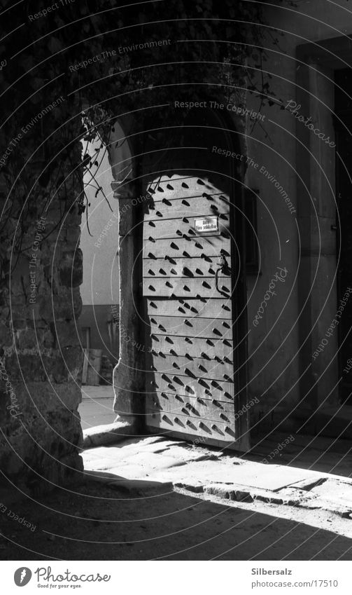 Some door always opens! Shadow Sunlight Light Shaft of light Hope Architecture Black & white photo Grief Distress Door Castle open door Contrast Door open Open