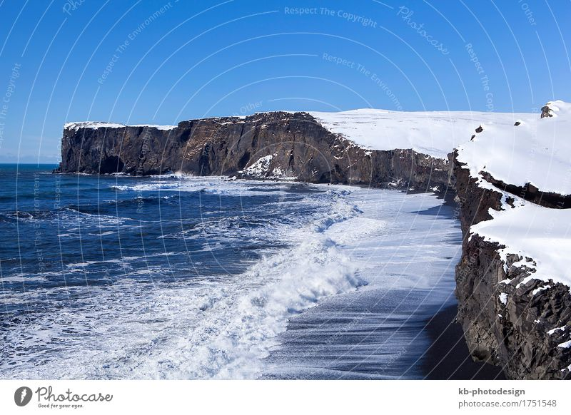 Vacation & Travel Far-off places Beach Winter Mountain Snow Rock Tourism Adventure Bay Iceland Winter vacation