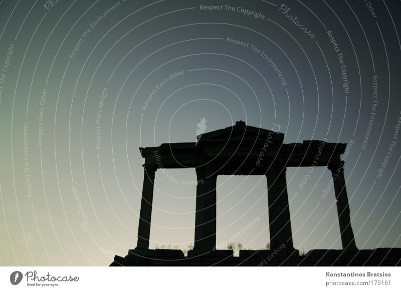 a piece of Athens #02 Colour photo Exterior shot Deserted Copy Space left Copy Space top Neutral Background Evening Silhouette Beautiful Vacation & Travel