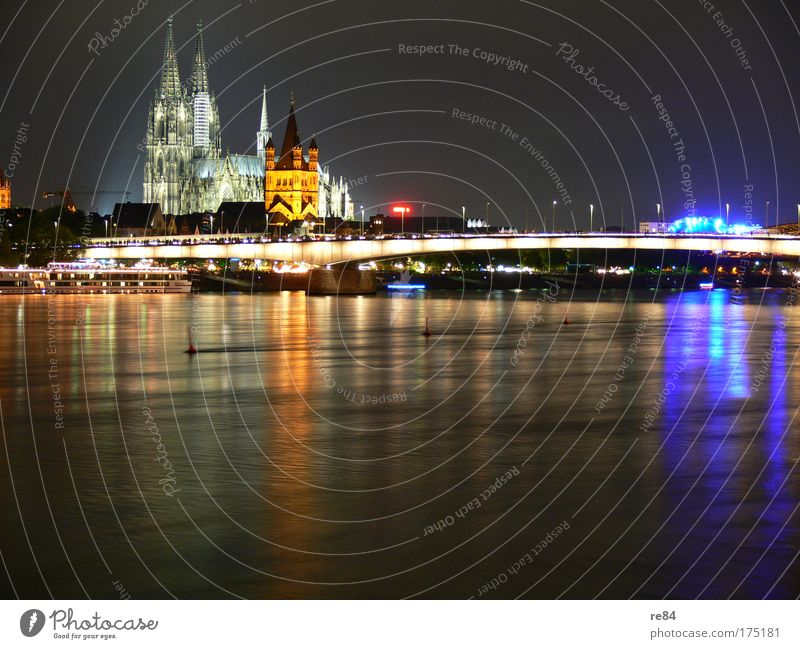 Cologne Cityscape Colour photo Multicoloured Exterior shot Evening Twilight Night Light Contrast Reflection Back-light Long exposure Panorama (View) Elegant